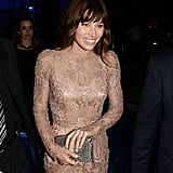 A close-up of the second-skin lace via one beautiful Dolce & Gabbana cocktail dress at the Dublin afterparty.