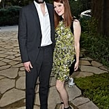 Julianne Moore and Bart Freundlich posed for pictures at the Sony Pictures party on Saturday.