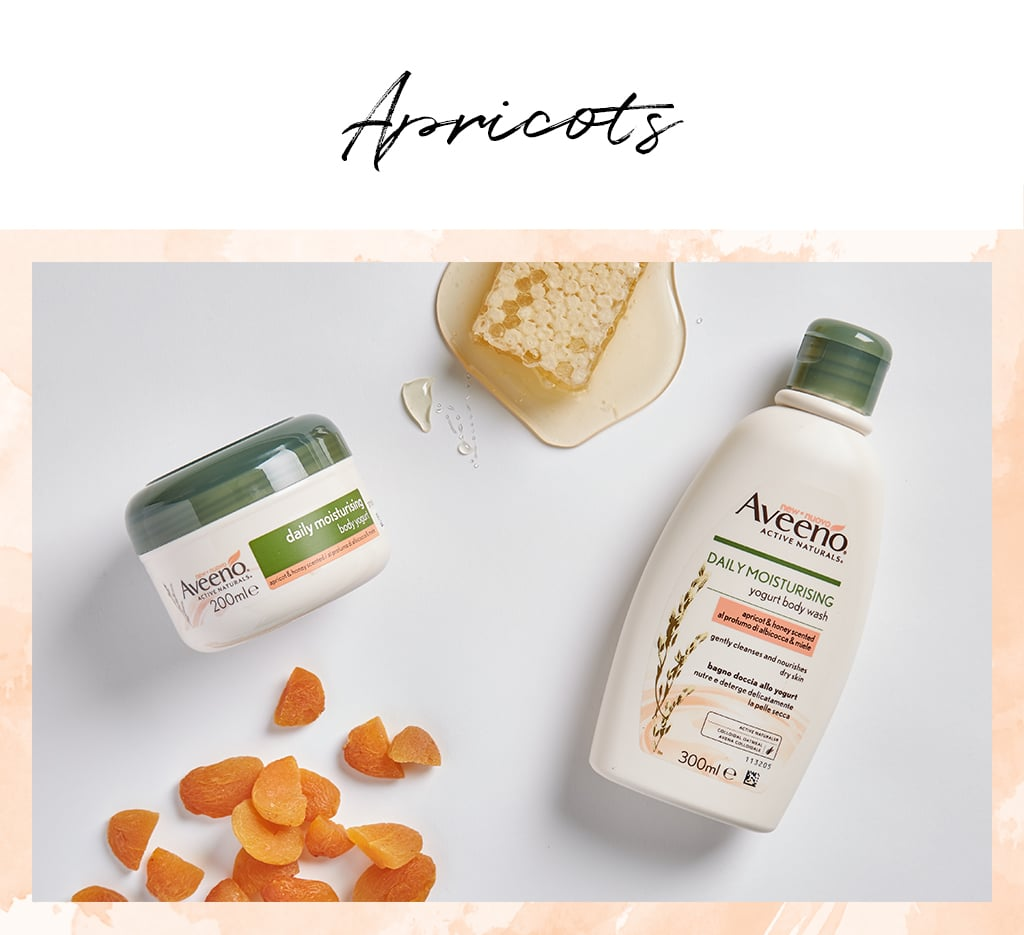 Ground apricot stones have been a staple ingredient in skin exfoliators for decades, but this delicious antioxidant-rich fruit can be beneficial to the skin and body in a whole host of other ways. Firstly, it smells delicious, and the AVEENO® Daily Moisturising Body Yogurt — Apricot & Honey Scented (£6.50) and AVEENO® Daily Moisturising Yogurt Body Wash– Apricot & Honey (£7.89) both contain a light apricot fragrance that makes them a treat for your senses. Apricot oil (derived from the kernels of the fruit) resembles to the body's own sebum, and can help to nourish your skin and keep it soft and supple. Rich in vitamin E (an anti-ageing marvel) and vitamin C (which promotes collagen production), apricot oil can help maintain elasticity and keep skin looking youthful.
