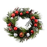 Martha Stewart Red Ornament and Berry Pre-Lit Artificial Holiday Wreath