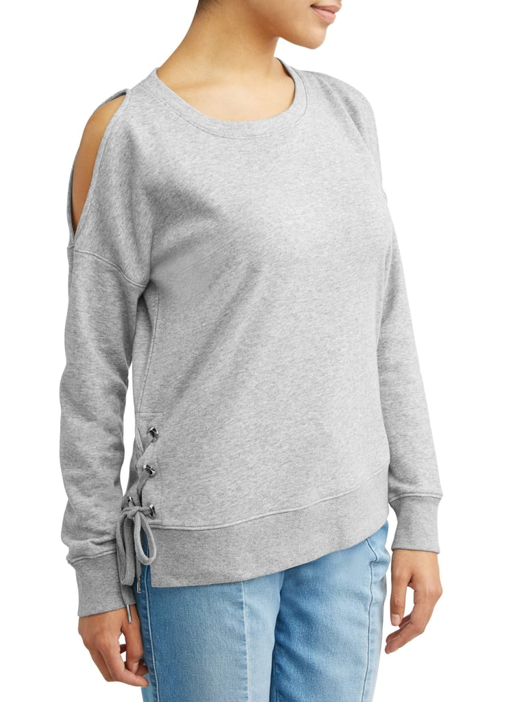 Cold Shoulder Side-Lace Grommet Sweatshirt