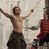 Oof. Here's his first shirtless shot, and regrettably it's while he's being victimized by Jack Randall (Tobias Menzies). But still . . . look.