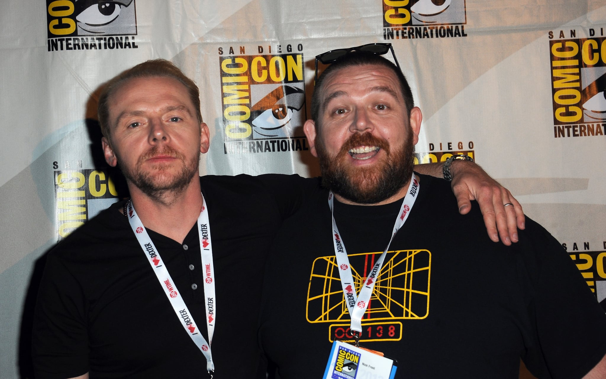 SAN DIEGO, CA - JULY 19:  Actors Simon Pegg and Nick Frost attend The World's End: Edgar Wright, Simon Pegg And Nick Frost Reunited panel as part of Comic-Con International 2013 held at San Diego Convention Centre on Friday July 19, 2012 in San Diego, California.  (Photo by Albert L. Ortega/Getty Images)