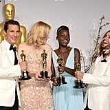 It was all fun and games for McConaughey, Blanchett, Nyong'o, and Leto as they laughed together.