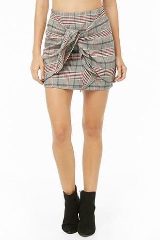 Forever 21 Plaid Tie-Front Mini Skirt
