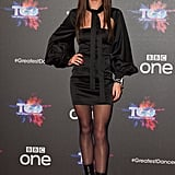 In December, Cheryl turned up the heat in a black mini dress by Attico.