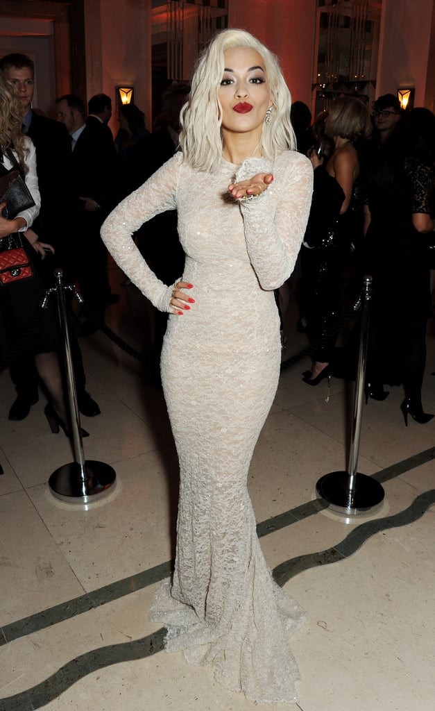 Rita Ora opted for a chantilly lace gown by Ermanno Scervino.