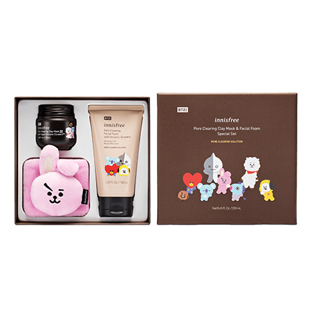 Innisfree BT21 Limited Pore Clearing Clay Mask and Facial Foam Special Set