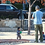 Owen Wilson and Jade Duell brought baby Robert to a playground in Santa Monica.