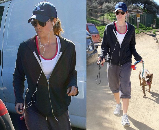 Jessica Biel Walking Her Dog