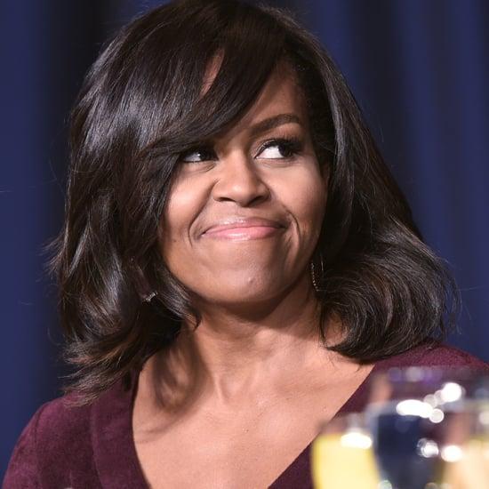 Michelle Obama Wearing a Plum Dress