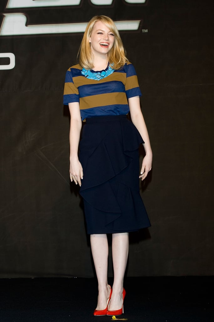 Emma Stone wore Burberry Prorsum in South Korea.