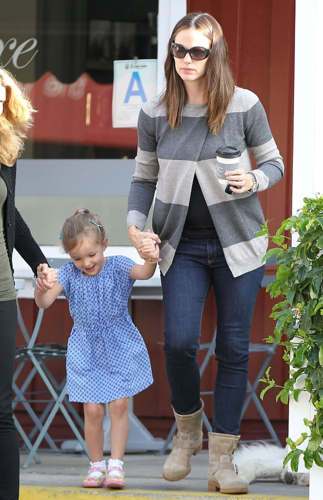 Jennifer Garner and her middle child, Seraphina Affleck, stopped to get coffees at Caffe Luxxe in LA yesterday. Jen's holding down the fort on the West Coast with Seraphina and her siblings, Samuel and Violet, while dad Ben Affleck does a final press push for his third directorial effort, Argo, in NYC. Last night, Ben hosted a special screening of the CIA thriller, which is out Friday, for famous friends like Matt Damon in the Big Apple. Ben's also been making the interview rounds, stopping by GMA, Live! With Kelly and Michael, and even more shows. In one of his latest interviews to air, Ben Affleck's baby son, Samuel, was the topic of discussion. Ben spoke about his dreams for the little one, joking that Samuel's already sleeping with a baseball glove to enhance his chances of being a success on the diamond.