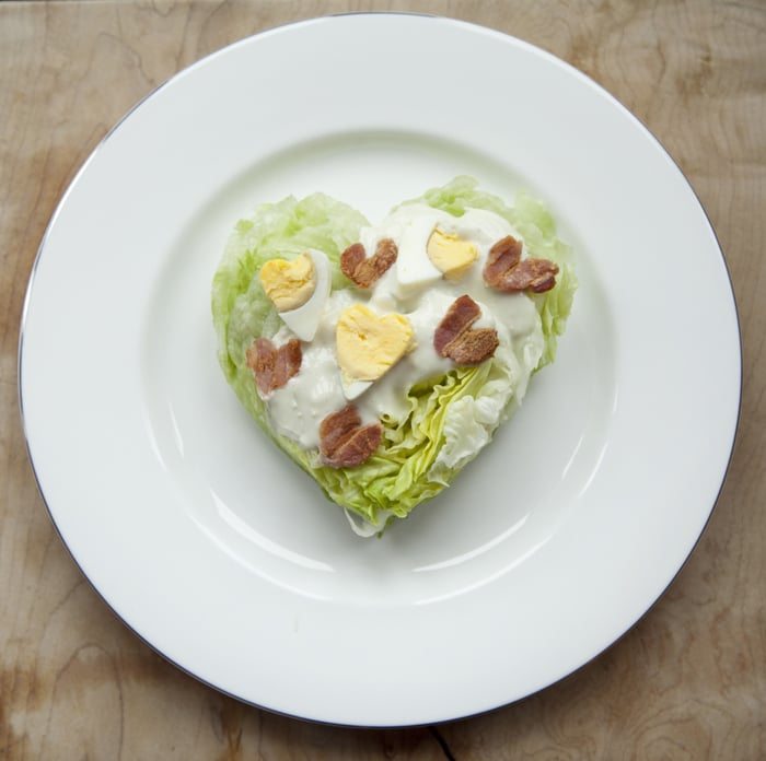 Heart-Shaped Wedge Salad With Bacon Hearts