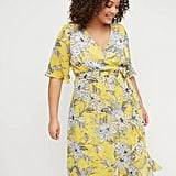 Lane Bryant Floral Faux-Wrap Fit & Flare Dress