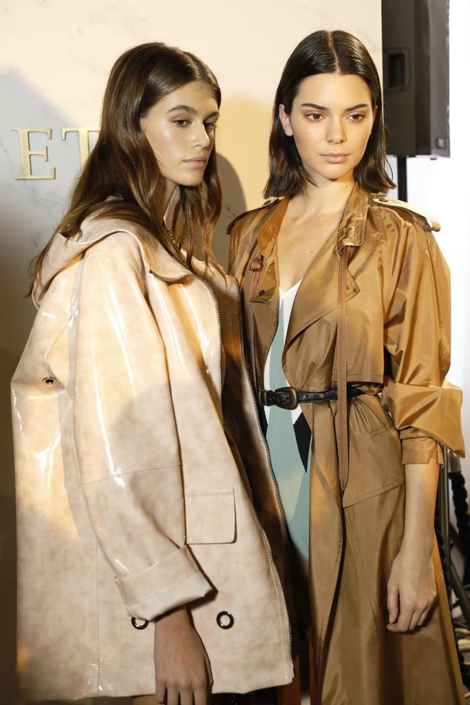 Kaia Posed Backstage With Kendall Jenner in Some Bottega Veneta Outerwear
