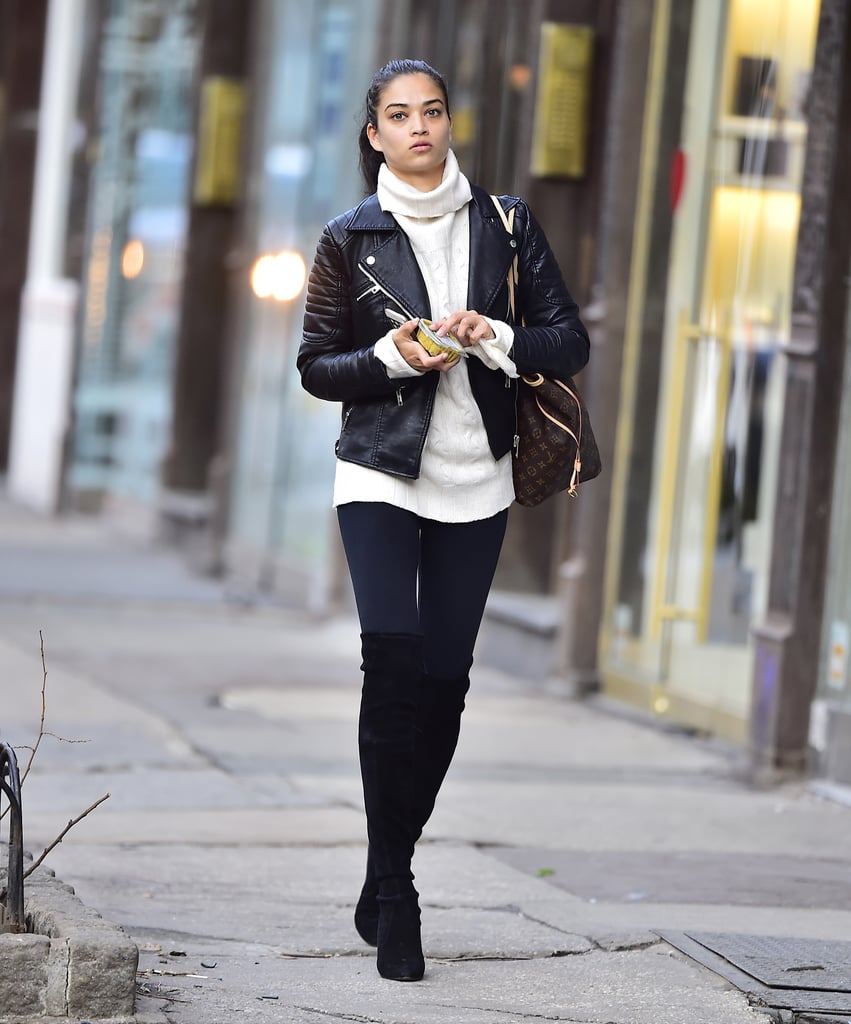 Shanina Shaik walked through the New York neighborhood of SoHo looking biker chic with a leather jacket and white turtleneck top.