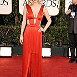 January Jones wore the most famous fringe since the flapper days to the 2011 Golden Globes.