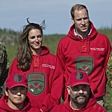 William and Kate can also go casual, wearing his and hers Rangers sweatshirts.