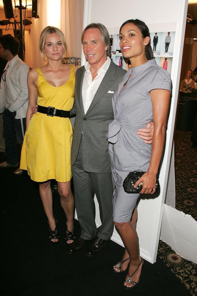 Backstage at Tommy Hilfiger's September 2008 show, Diane Kruger and Rosario Dawson got together with the designer.