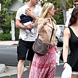 Chris Hemsworth and Elsa Pataky took baby India to breakfast at Kafe K in Santa Monica, CA.