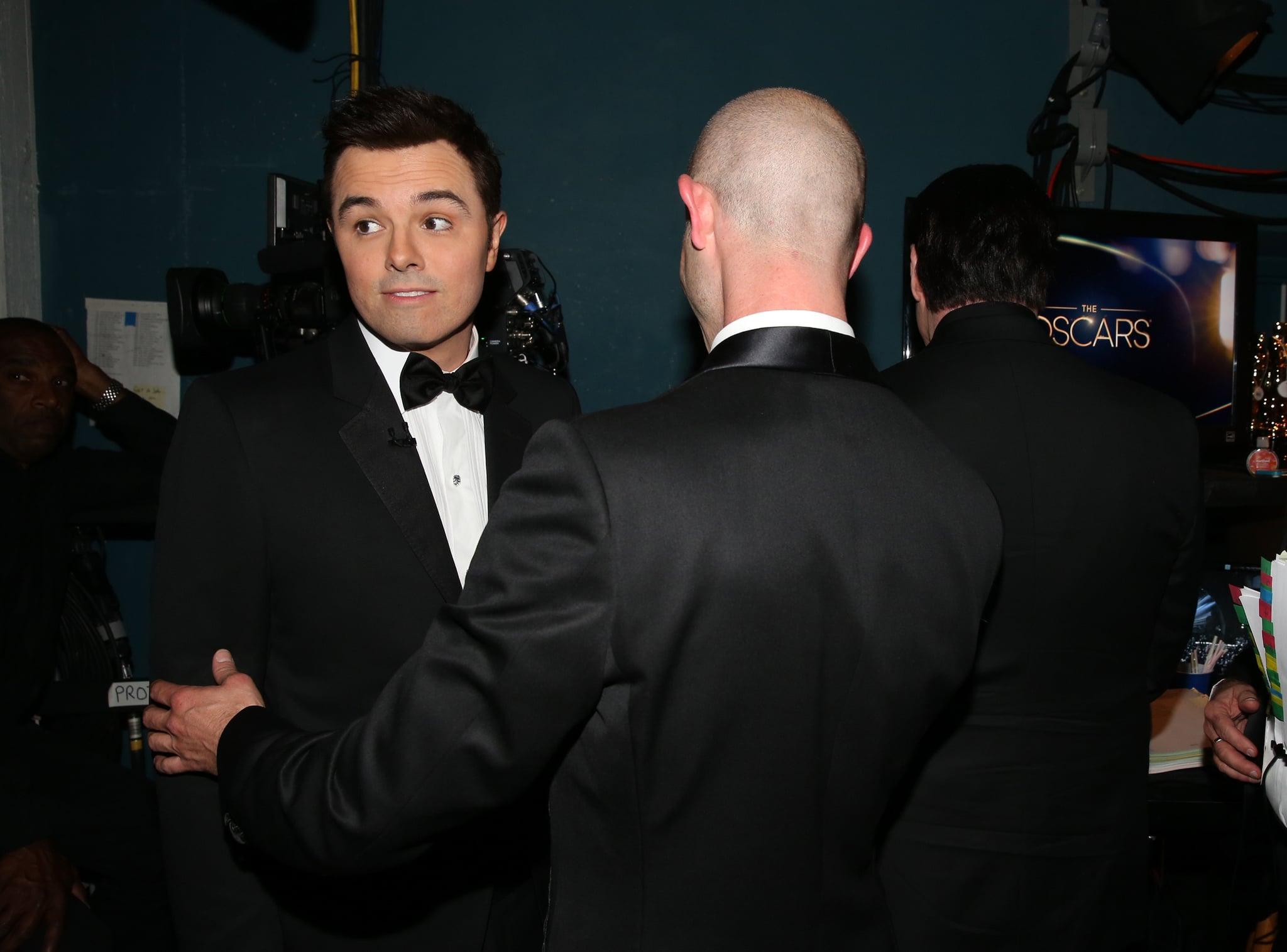Seth MacFarlane backstage at the 2013 Oscars.