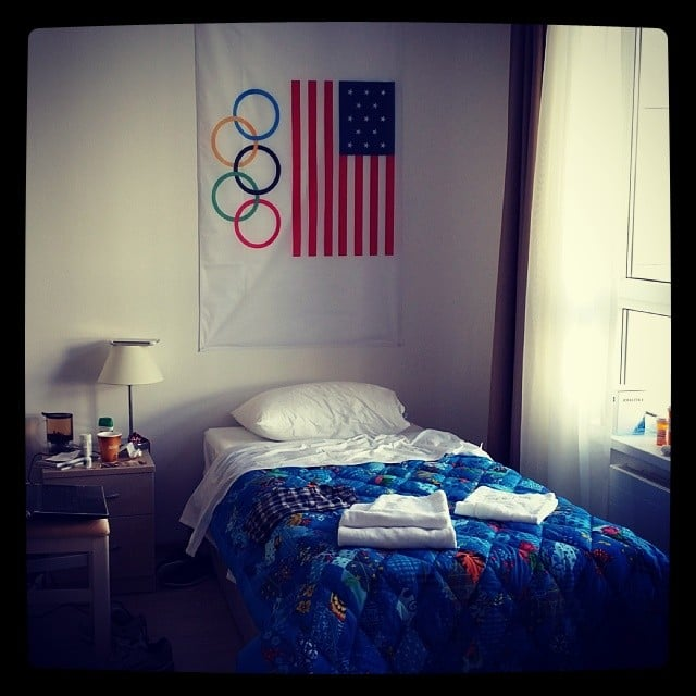 Speed skater Jordan Malone showed us where Olympians dream in the village. It looks like a college dorm, no?  Source: Instagram user j2k111