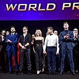 Pictured: Anthony Russo, Mark Ruffalo, Chris Evans, Robert Downey Jr., Scarlett Johansson, Jeremy Renner, Chris Hemsworth, Jon Favreau, and Kevin Feige