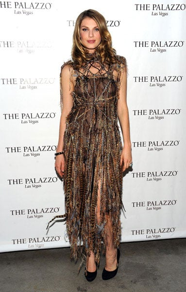 Angela Lindvall went for a one of a kind, feathered Rachael Cassar dress.