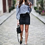 Style a Denim Skirt With a Gingham Shirt
