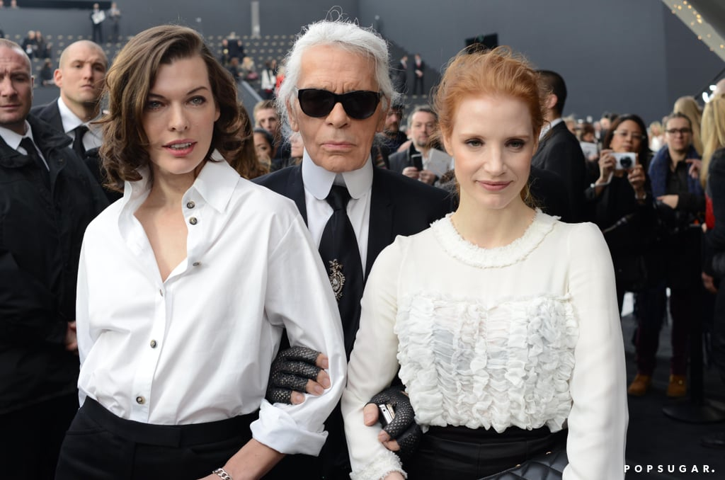 Jessica Chastain and Milla Jovovich Get Chic at the Chanel Show