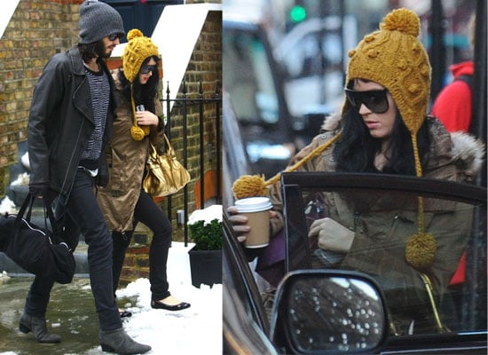 Photos of Katy Perry and Russell Brand Out in the Snow in London Doing Christmas Shopping
