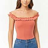 Ribbed Ruffle-Trim Top