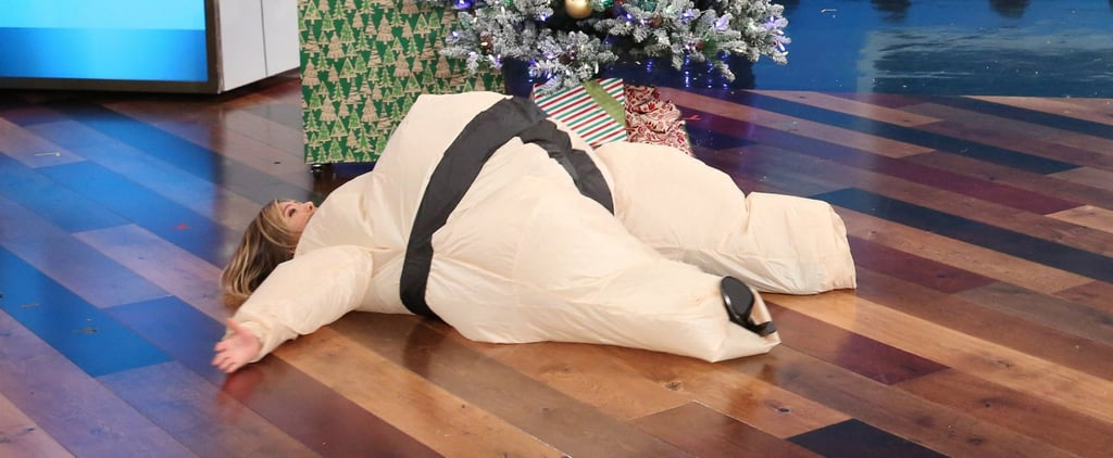Jennifer Aniston Making Snow Angels in a Sumo Suit Is the Pick-Me-Up You Need Today