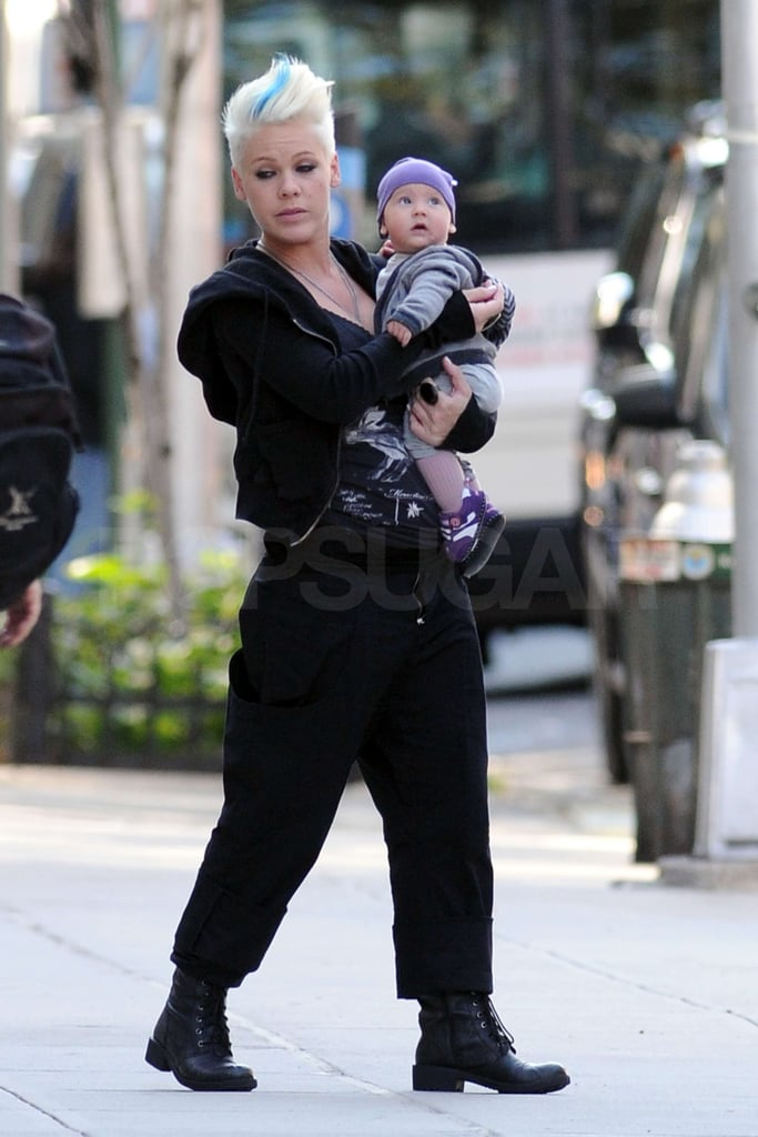 Pink carried Willow Hart, who was dressed in purple.