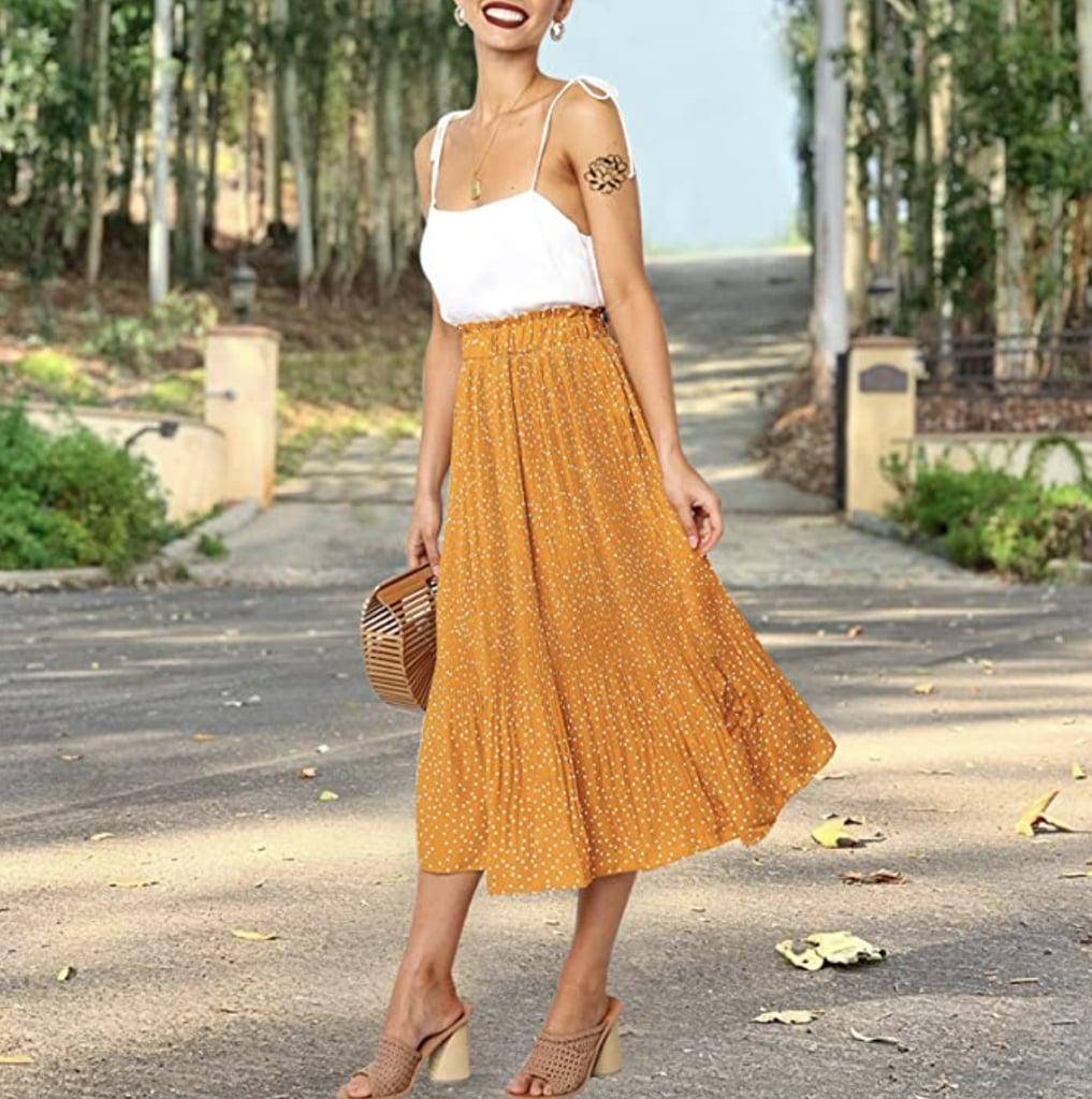 For a Pop of Yellow: Exlura High Waist Polka Dot Skirt