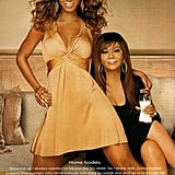 "Beyoncé Knowles teamed up with her mom, rocking a glamorous dress for their ""home bodies"" pose."