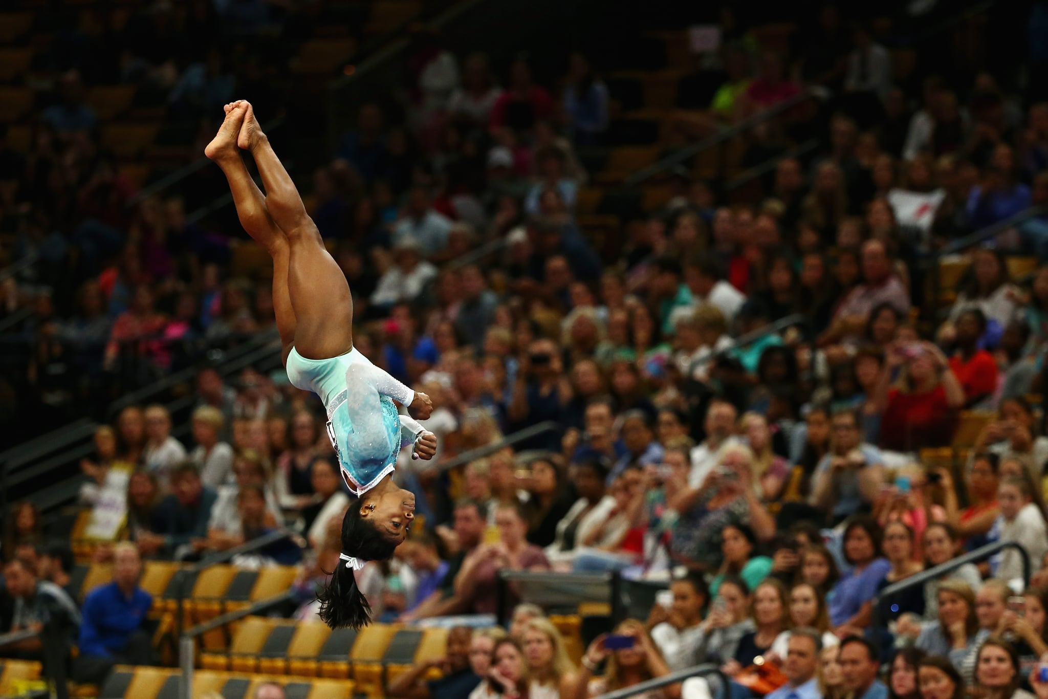BOSTON, MA - AUGUST 19:  Simone Biles competes on the vault during day four of the U.S. Gymnastics Championships 2018 at TD Garden on August 19, 2018 in Boston, Massachusetts.  (Photo by Tim Bradbury/Getty Images)