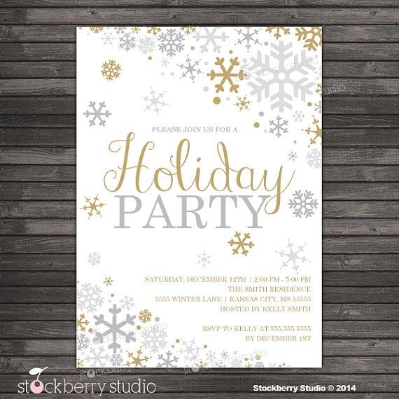 snowflake holiday party invitation printable holiday party