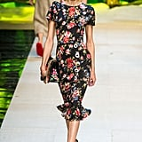 We dare her to go bolder. She's worn similar cap-sleeved silhouettes before, but a flouncy hem and a floral print feel fresh. Dolce & Gabbana Spring 2017.
