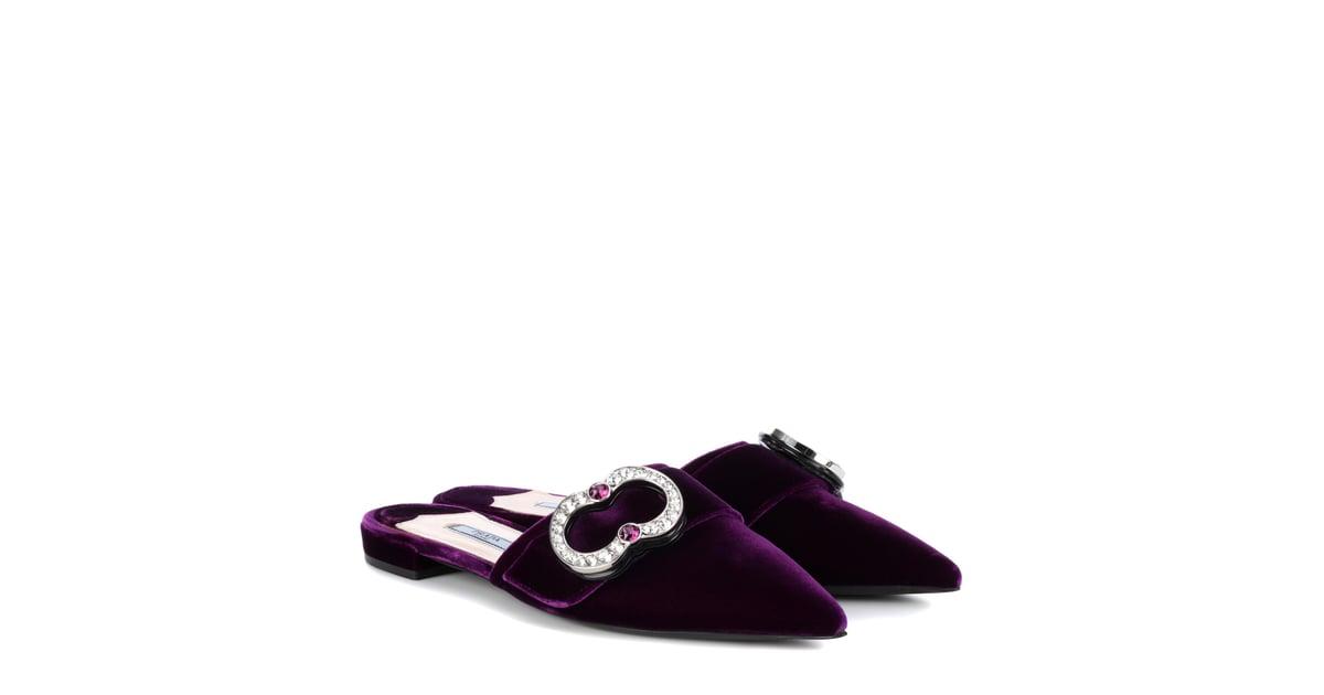 Prada Jeweled Velvet Flat Mules