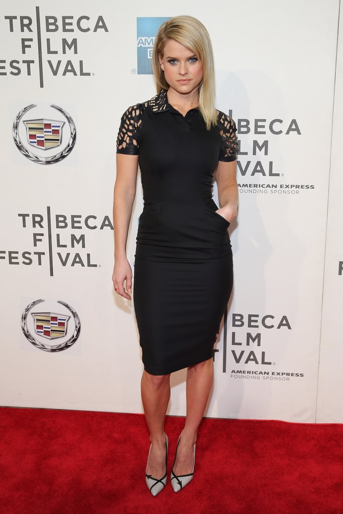 Alice Eve attended the screening of Some Velvet Morning dressed in a fitted black Reem Acra sheath featuring leather cutout detailing, then paired the look with pointy-toe pumps.