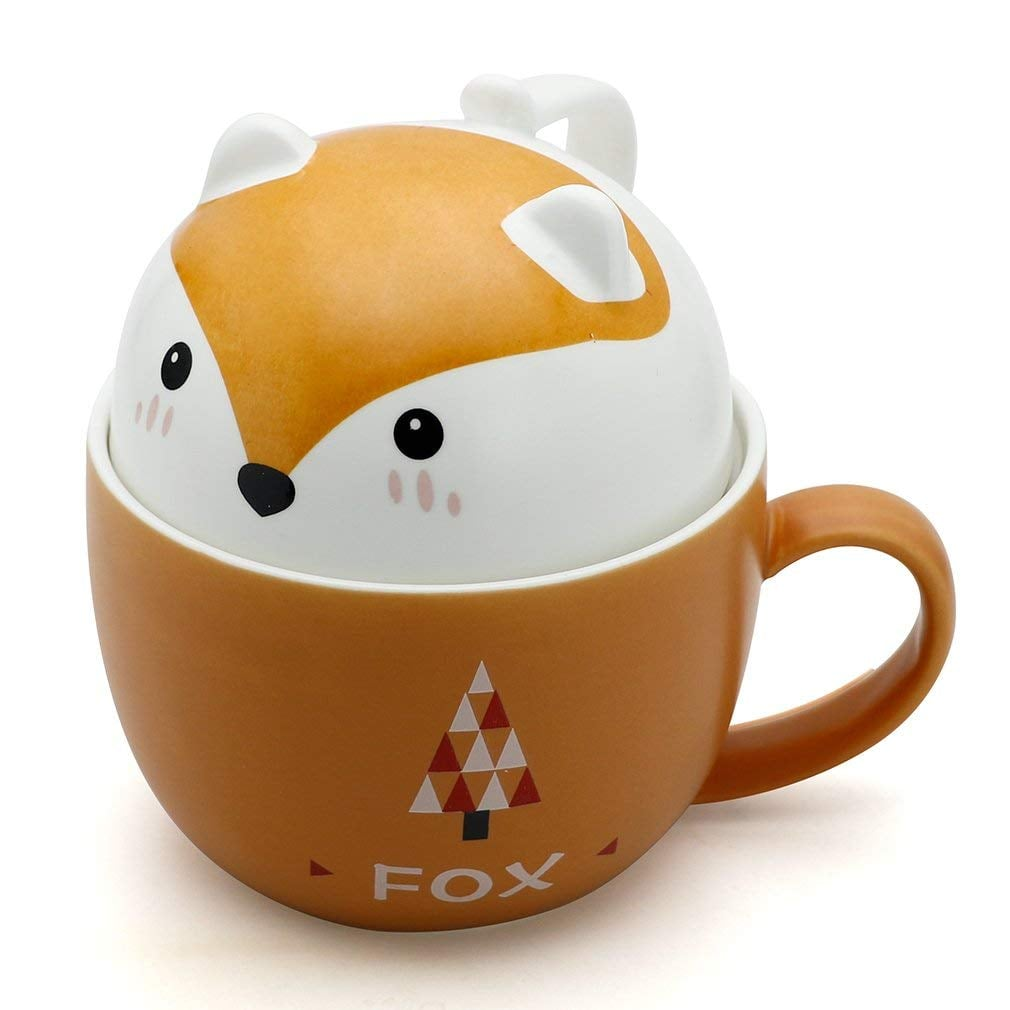 Teagas Cute Funny Fox Ceramic Coffee Mug