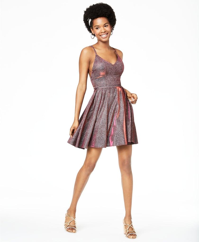 Sequin Hearts Strappy Glitter Fit & Flare Dress