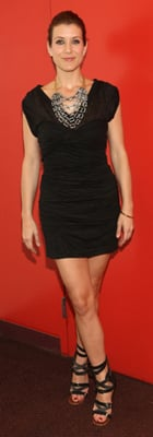 Kate Walsh in Black Dress and Bib Necklace
