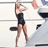 Kate Moss took a shower on a yacht.
