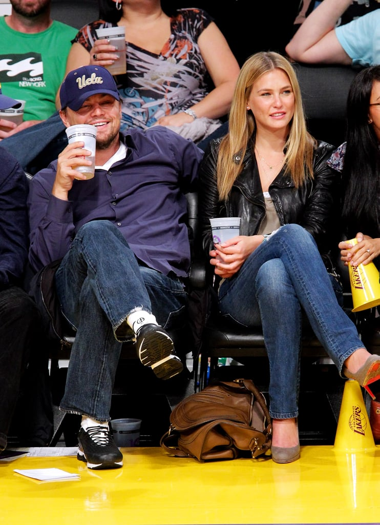 Leonardo DiCaprio sat courtside at an LA Lakers game with then-girlfriend Bar Refaeli in 2010.