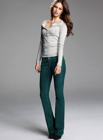 These hipster cords are a live-in-all-season basic that come in a wash of Fall hues.  Victoria's Secret Hipster Bootcut Pant in Corduroy ($60)