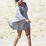 Cindy Crawford walked along the warm sand in Cabo.