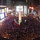 A bird's eye view of the crowds in Chongqing, China.